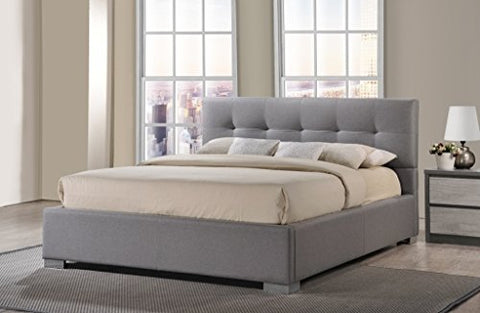 Modern Diamond Button Tufted Upholstered Padded Square Gray Queen Headboard & Platform Bed