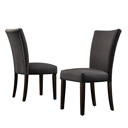 Modern Dark Gray Fabric Parsons Style Dining Chairs with Espresso Wood Legs - Set of 2