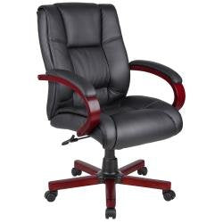 Contemporary Black Upholstery Mid Back Executive Chair (Red Cherry Finish)