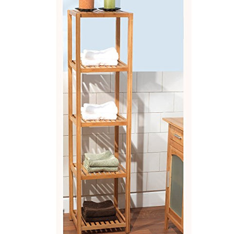Modern Transitional 5 Tier Standing Shelves in Natural Finish