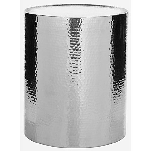 Contemporary Metal Drum End Table with Hammered Finish
