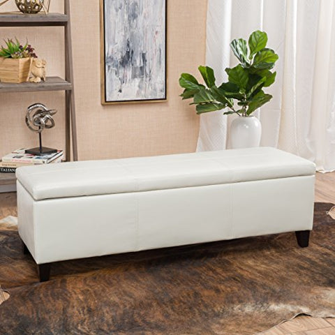 Modern Faux Leather Upholstery Storage Bench with Solid Wood Frame (Ivory)