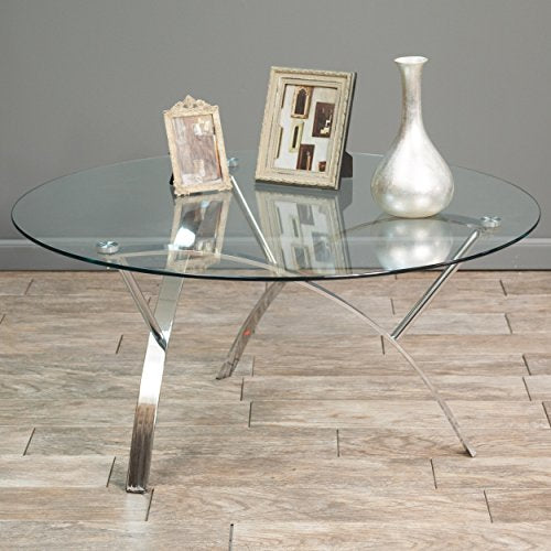 Modern Art Deco Round Glass Style Chrome Silver Metal Coffee Table with Glass Top
