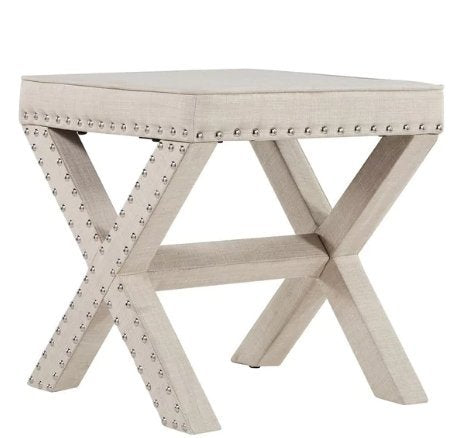 Contemporary Linen Fabric Upholstered 17 Inch Bench Ottoman Vanity Stool with X Legs and Silver Nailhead (Beige)