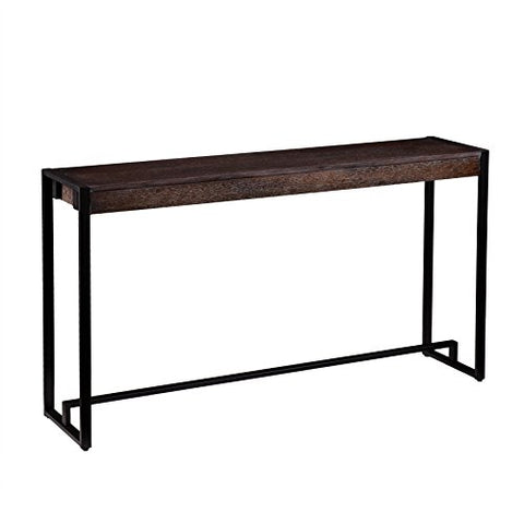 Industrial Rustic Wood Top Narrow Console Sofa Table with Metal Frame