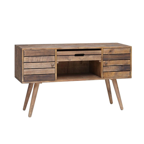 Rustic Mid Century Style Reclaimed Wood Sideboard Buffet Credenza with Removable Serving Tray