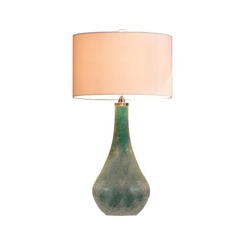 Mid Century Modern Blue Green Sanblasted Art Glass Table Lamp