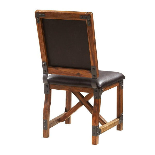 Industrial Modern Brown Faux Leather Upholstery Wood Dining Chair with Metal Finish Legs