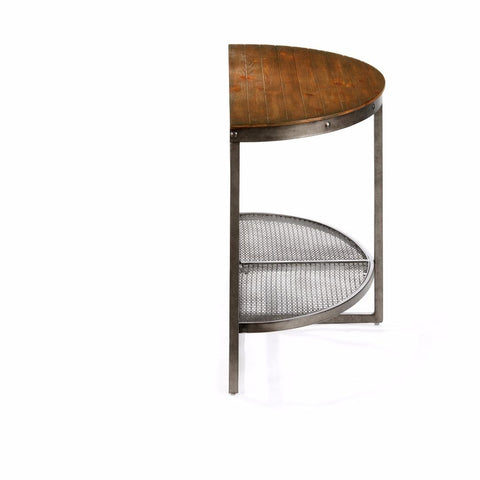 ... Industrial Modern Wood And Metal Demilune Sofa Console Table With Wire  Mesh Shelf ...