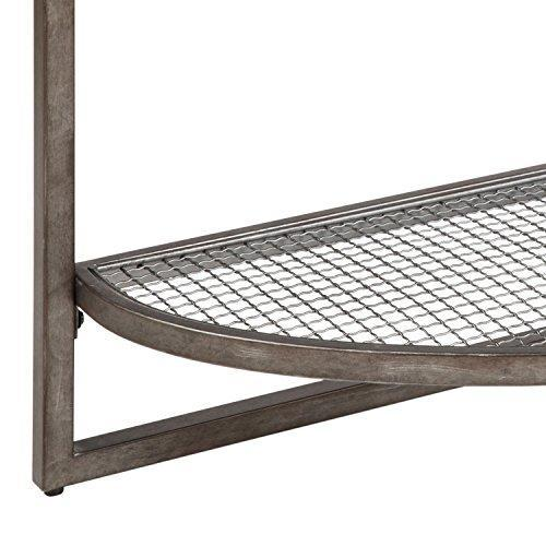 Industrial Modern Wood and Metal Demilune Sofa Console Table with Wire Mesh Shelf