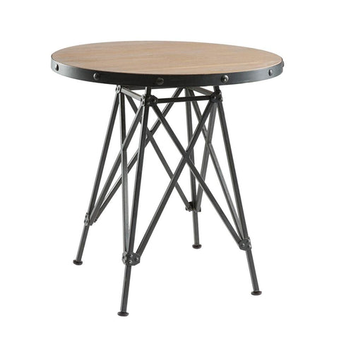Industrial Rustic 30 inch Round Wooden Top Bistro Dining Table with Graphite Metal Base