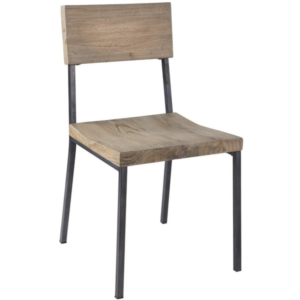 Industrial Rustic Wood Seat and Metal Side Dining Chairs (Set of 2)