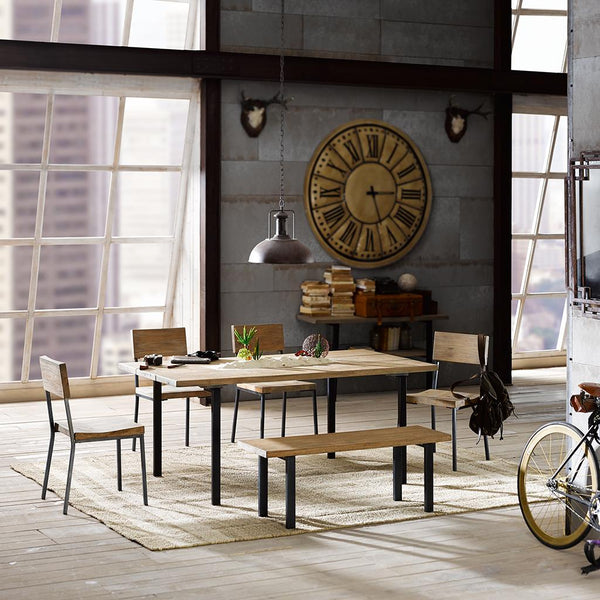 Industrial Rustic Wood Plank and Metal Dining Bench
