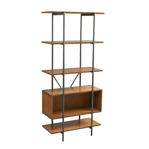 Mid Century 6 Tier Wood and Metal Bookcase with Adjustable Display Box
