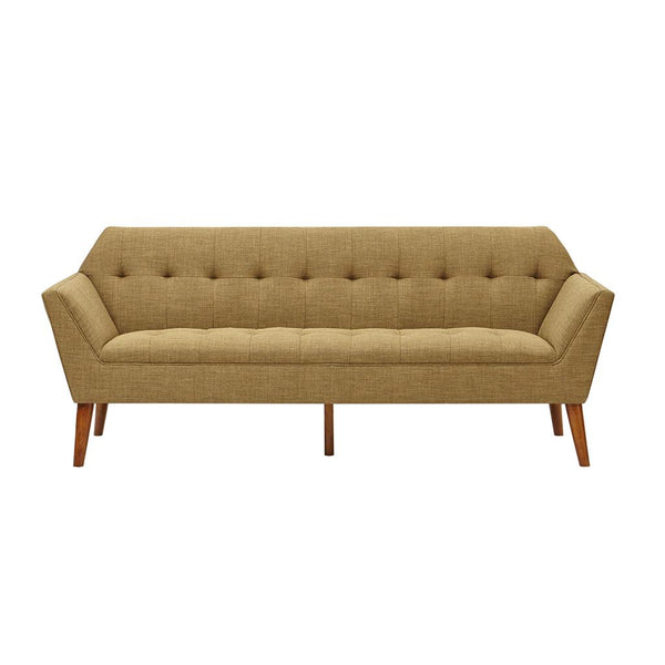 Mid Century Modern Light Brown Upholstery Button Tufted Loveseat Sofa with Dowel Wood Legs
