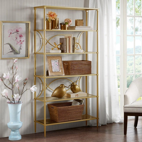 Classic Antique Gold Living Room Accent Display Bookcase ...