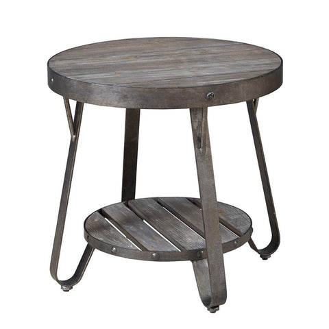 Modern Driftwood Rustic Gray Wood and Metal 24 inch Round Accent End Side Table