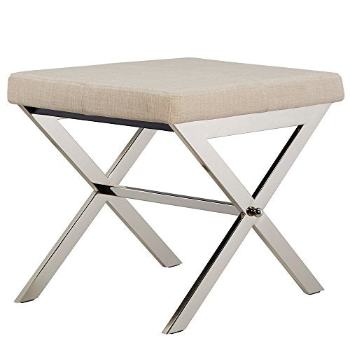 Contemporary Linen Upholstery 22 Inch Vanity Stool with Chrome Crossed Legs (Beige)