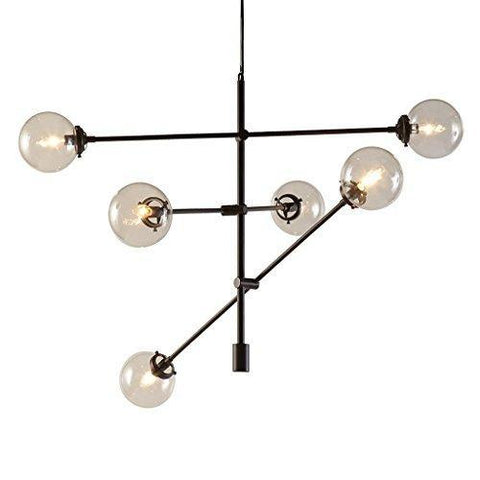 Mid Century Modern Black Bronze Chandelier with 6 Oversized Glass Bulbs