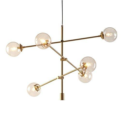 Mid Century Modern Antique Gold Chandelier with 6 Oversized Glass Bulbs