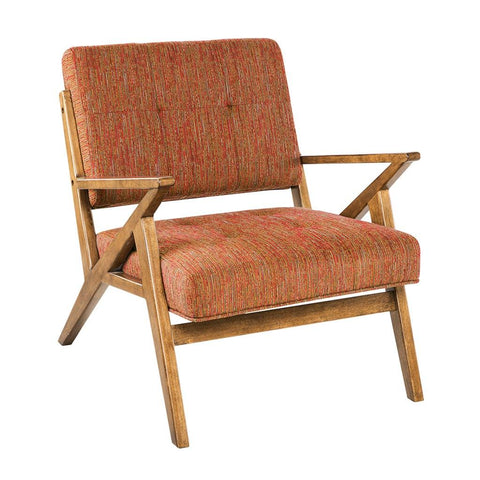 Mid Century Modern Retro Wood Orange Tufted Upholstered Lounge Chair