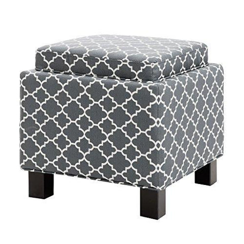 Modern Square Upholstered Storage Ottoman with 2 Accent Pillows and Wood Legs in Espresso Finish - Includes Modhaus Living Pen (Grey)