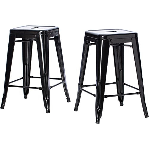Set of 2 Black French Bistro Tolix Style Metal Counter Stools in Glossy Powder Coated Finish