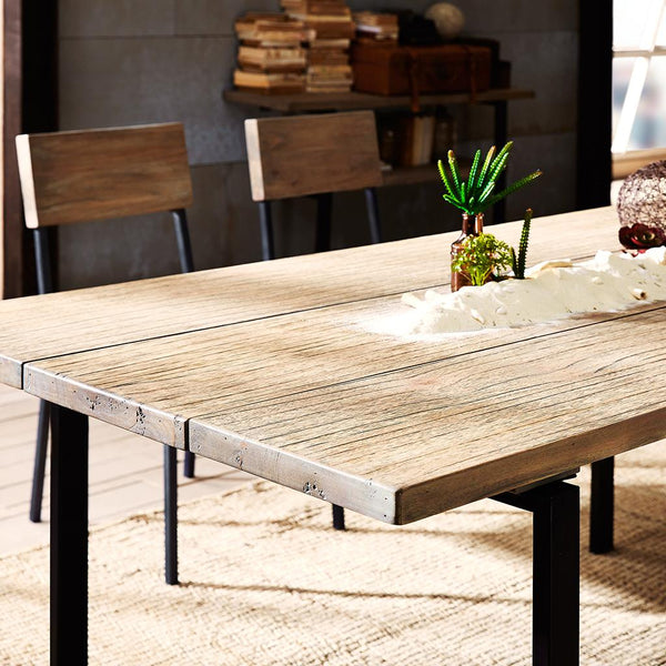 Industrial Rustic Distressed Wood Planks Dining Table 72 x 36 in. with Steel Legs