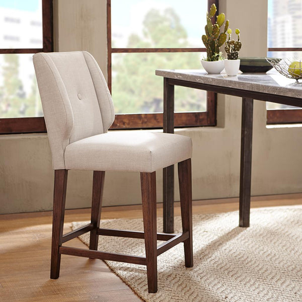 Modern Wingback Button Tufted Light Gray Upholstery Pecan Wood Parsons Counter Height Barstool
