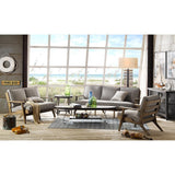 Modern Driftwood Rustic Gray Fabric Upholstered and Wood Loveseat Sofa Settee