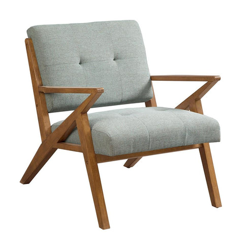 Mid Century Modern Rocket Tufted Seafoam Upholstered Accent Arm Chair with Solid Wood Frame