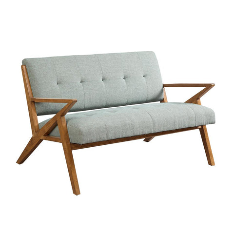 Mid Century Modern Rocket Tufted Seafoam Upholstered Loveseat with Solid  Wood Frame