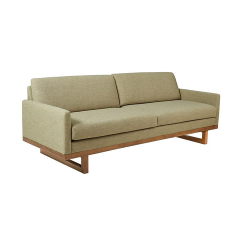 Mid Century Modern Lime Green Upholstered Sofa with Solid Wood Base and Legs