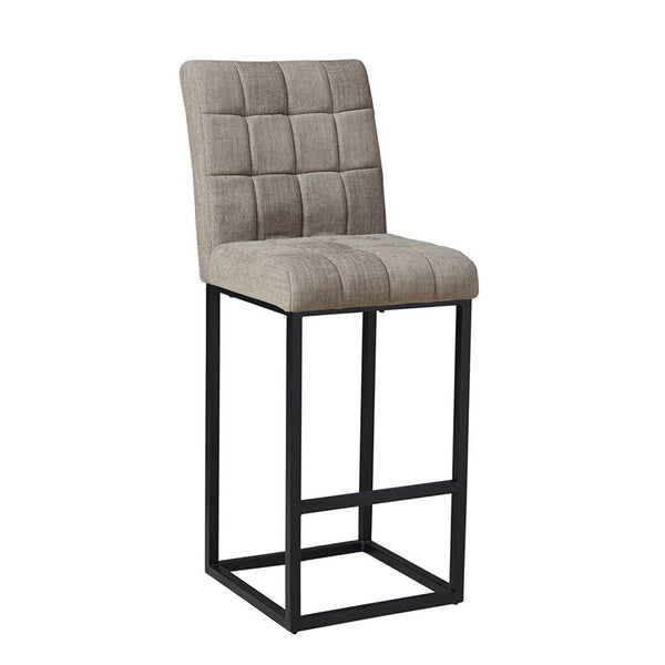 Modern Gray Linen Square Tufted Fabric 30 in Barstool with Back and Black Metal Base