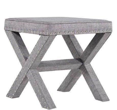 Contemporary Linen Fabric Upholstered 17 Inch Bench Ottoman Vanity Stool with X Legs and Silver Nailhead