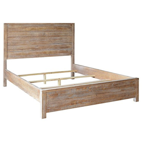 Contemporary Rustic Queen Size Solid Wood Panel Bed (Driftwood Finish)