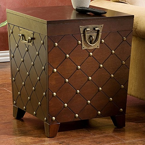 Elegant Design Wood Side Table Trunk with Gold Nailheads in Espresso Finish