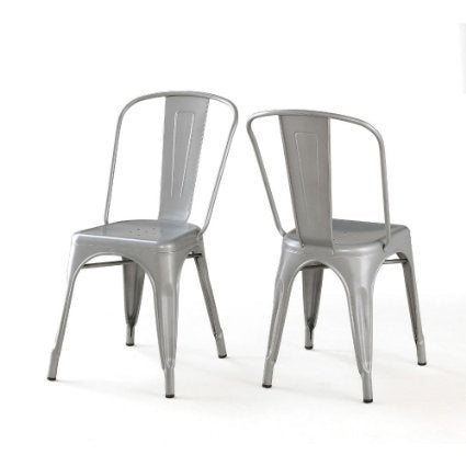Set of 2 Silver Xavier Pauchard Tolix A Style Chairs in Powder Coat Finish
