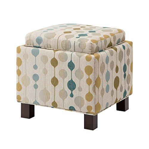 Modern Square Beige Print Upholstered Storage Ottoman with 2 Accent Pillows and Wood Legs in Espresso Finish