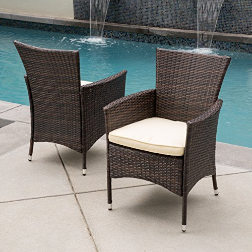 Contemporary Modern Outdoor Wicker Dining Chair with Metal Frame (Multi Brown)