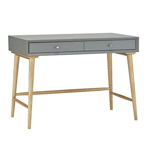 Mid Century Modern Wood Computer Writing Desk with 2 Drawer and Natural Legs  (Gray)