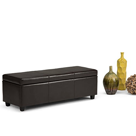 Modern Transitional Faux Leather Upholstery Storage Ottoman Bench with Solid Wood Frame  (Dark Brown)