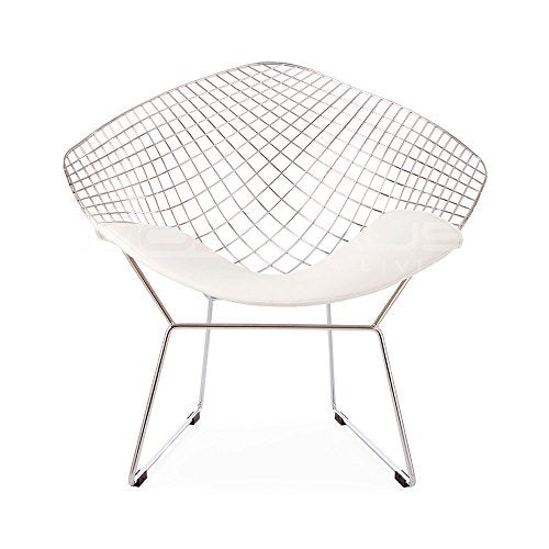 ModHaus Mid Century Modern Bertoia Style Chrome Diamond Accent Chair with White Faux Leather Seat Pad
