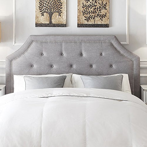 Diamond Button Tufted Clipped Corners Gray Linen Upholstered Queen Headboard with Metal Nailheads