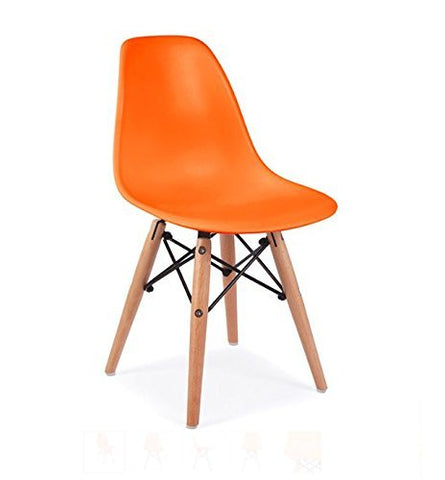 Mid Century Modern CHILDREN KIDS Orange DSW Chair with Wood Dowel Base Inpired by Eames design - HIGH QUALITY Matte Finish