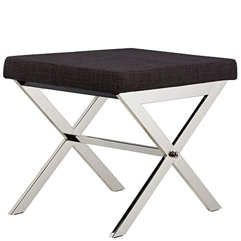 Contemporary Linen Upholstery 22 Inch Vanity Stool with Chrome Crossed Legs (Dark Gray)