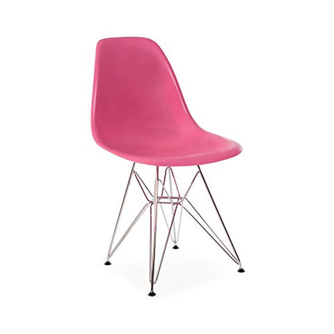 Mid Century Modern Pink DSR Chair with Eiffel Chrome Steel Base - Inspired by Eames Design - HIGH QUALITY Satin Finish