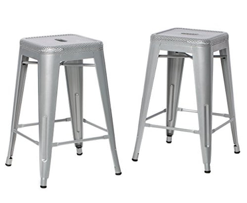 Fabulous Modhaus Set Of 2 Perforated Silver Tolix Style Metal Counter Stools In Glossy Powder Coated Finish Squirreltailoven Fun Painted Chair Ideas Images Squirreltailovenorg
