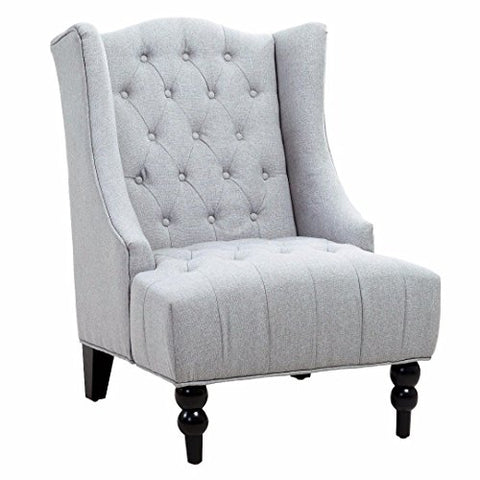 Classic High Back Button Tufted Light Gray Linen Upholstered Accent Club Wingback Chair with Espresso Wood Legs