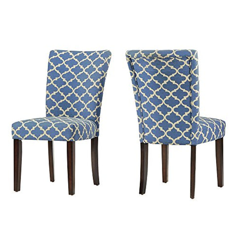 Modern Light Blue Fabric Moroccan Quatrefoil Pattern Parsons Style Dining Chairs | Wood Finish Wooden Legs - Set of 2